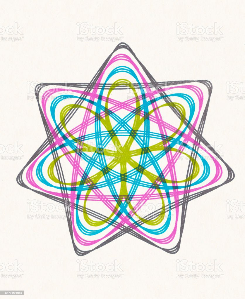 Multicolor Snowflake Line Drawing royalty-free multicolor snowflake line drawing stock vector art & more images of circle