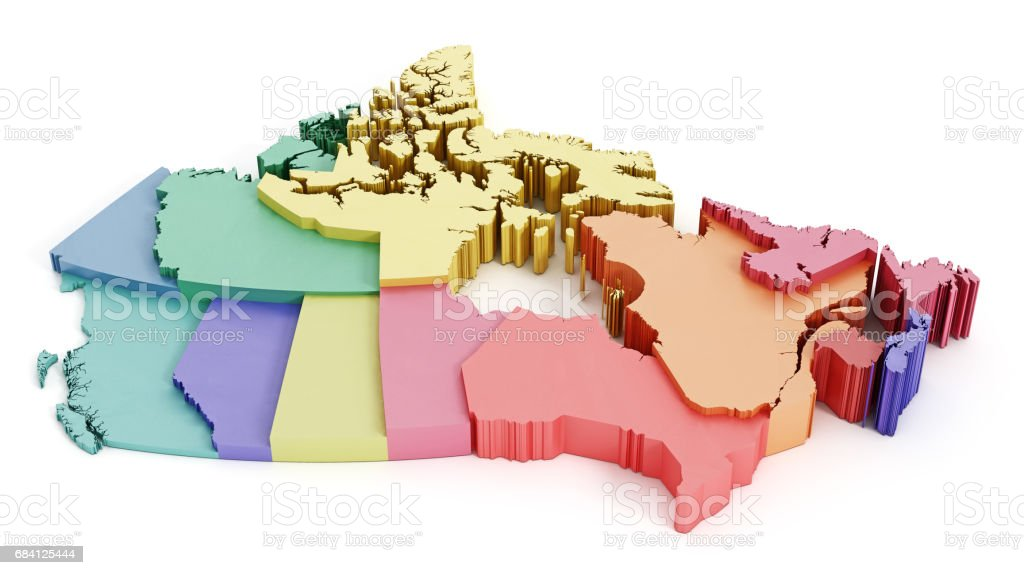 Multi-colored Canada map showing geographical regions vector art illustration