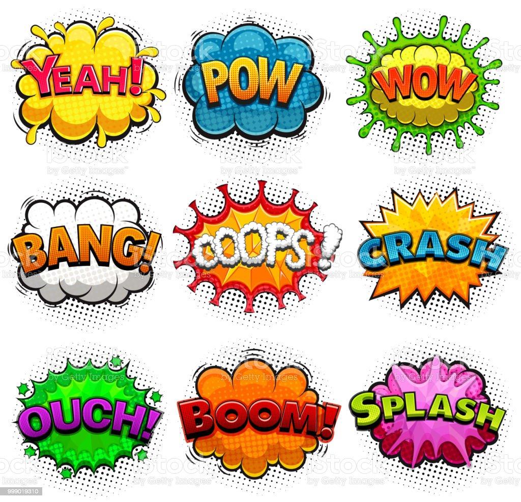 multicolored comic speech bubbles sound effects illustration stock