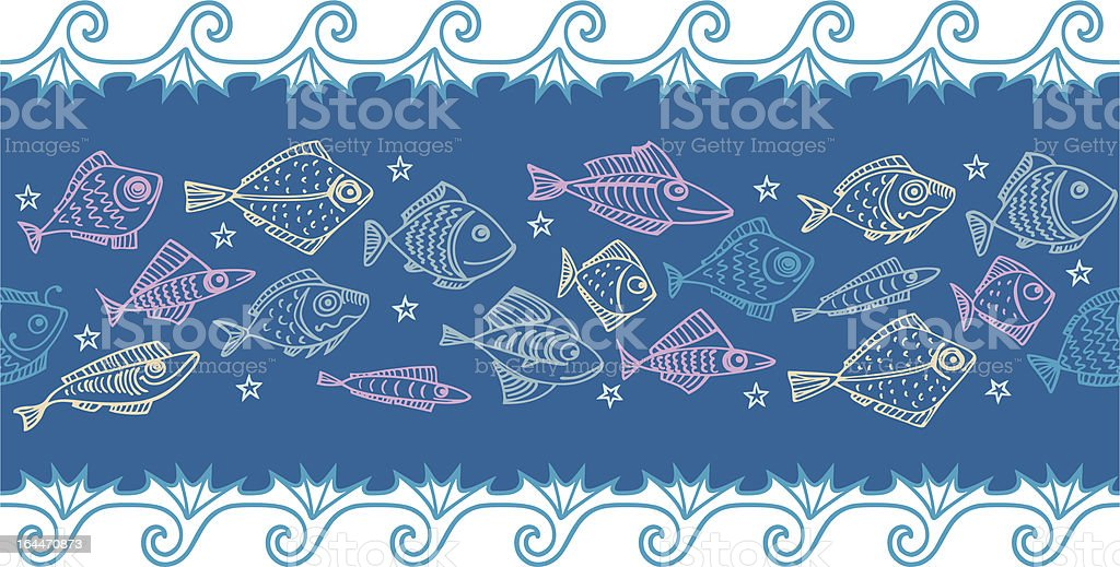 multi-colored fishes seamless border royalty-free multicolored fishes seamless border stock vector art & more images of animal