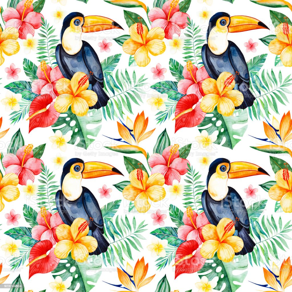 multicolored flower,tropical leaves,branch,toucan on white background. vector art illustration