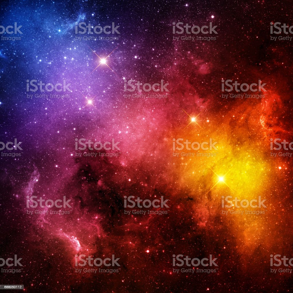 Multi-colored galaxy vector art illustration