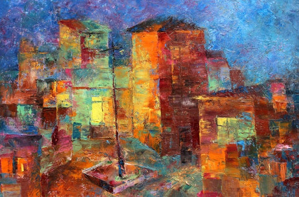 Multicolored oil painting of colorful cute houses Town landscape oil painting of colorful houses impressionism stock illustrations