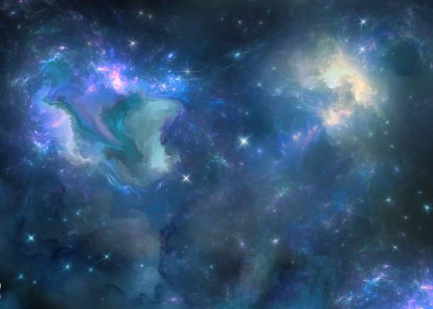 multicolored painted nebula digital painting dreamlike stock illustrations