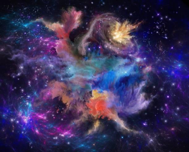 multicolored painted nebula vector art illustration