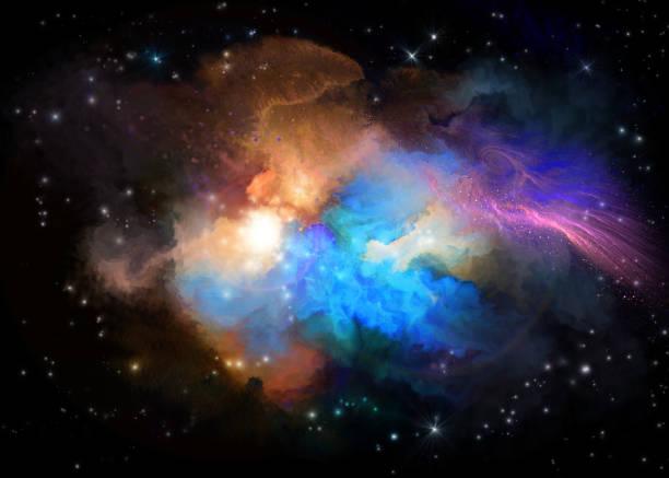 multicolored painted nebula - духовность stock illustrations