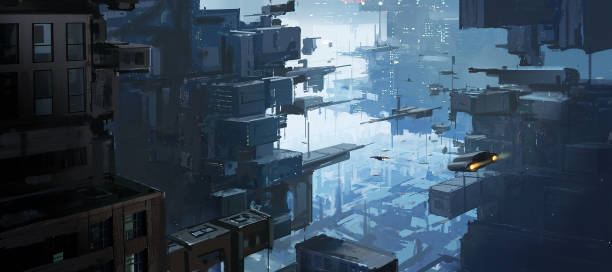 Mehrdimensionaler Urbanraum, exotische Konzepte, digitale Malerei. – Vektorgrafik