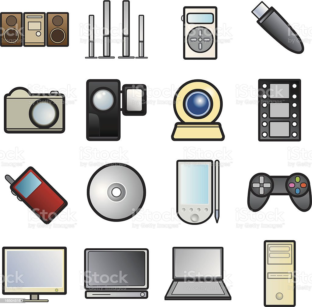 Multimedia Icons: Color royalty-free stock vector art