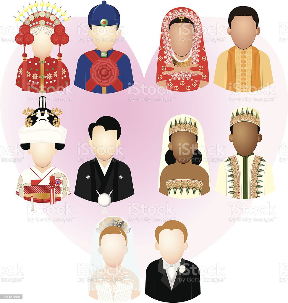 Multinational Bride and Groom royalty-free stock vector art