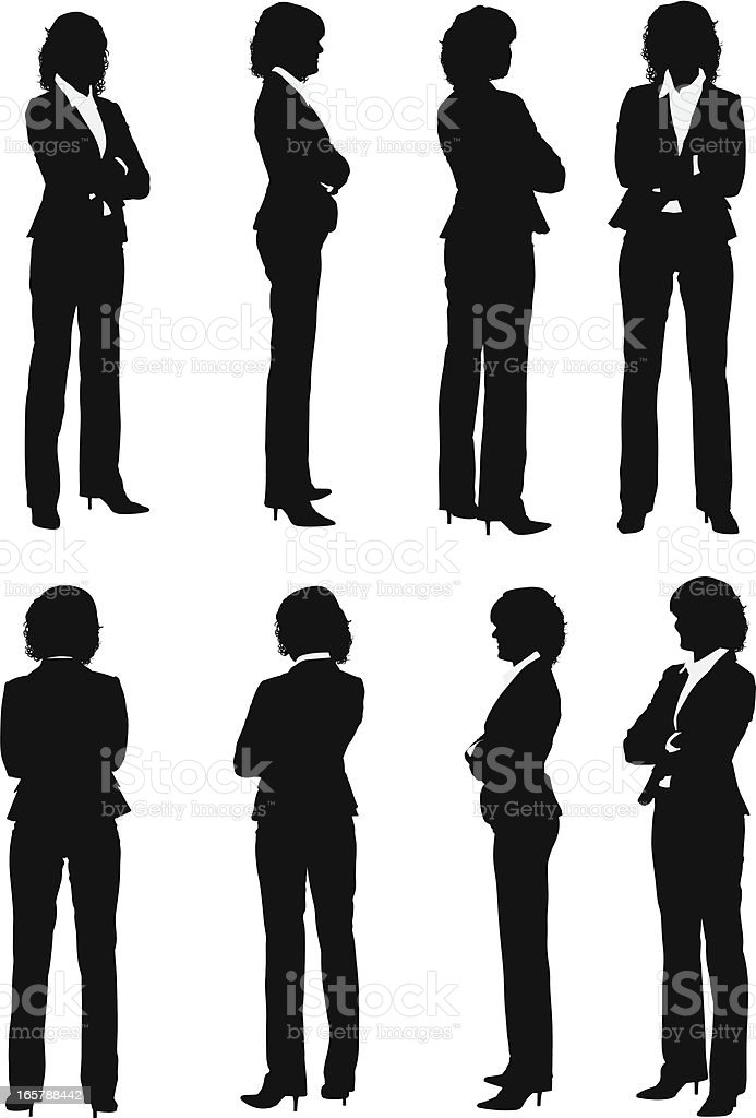 Multiple images of a businesswoman with arms crossed vector art illustration