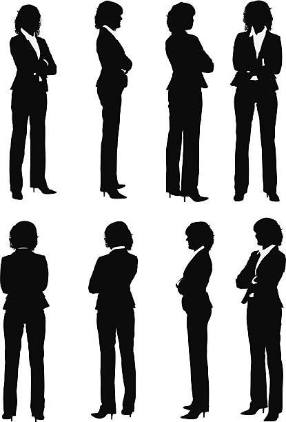 ilustraciones, imágenes clip art, dibujos animados e iconos de stock de múltiples imágenes de una empresaria con brazos cruzados - ejecutiva