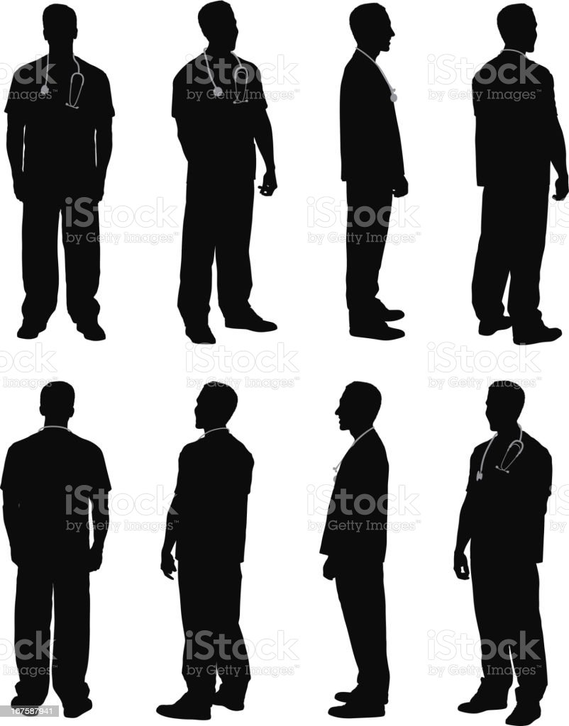Multiple images of a male doctor vector art illustration