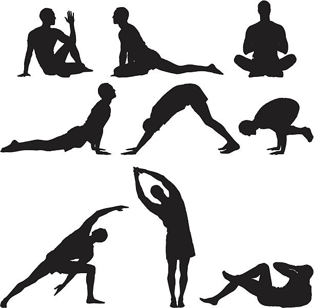 stockillustraties, clipart, cartoons en iconen met multiple images of a man practicing yoga - buigen lichaamsbeweging