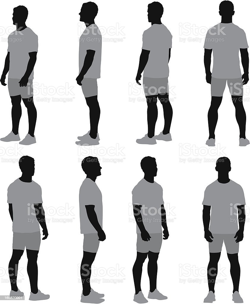 Multiple images of a man standing vector art illustration