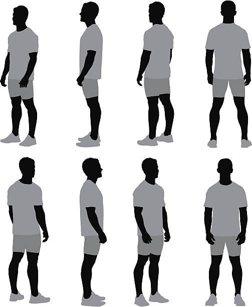 stockillustraties, clipart, cartoons en iconen met multiple images of a man standing - sportkleding