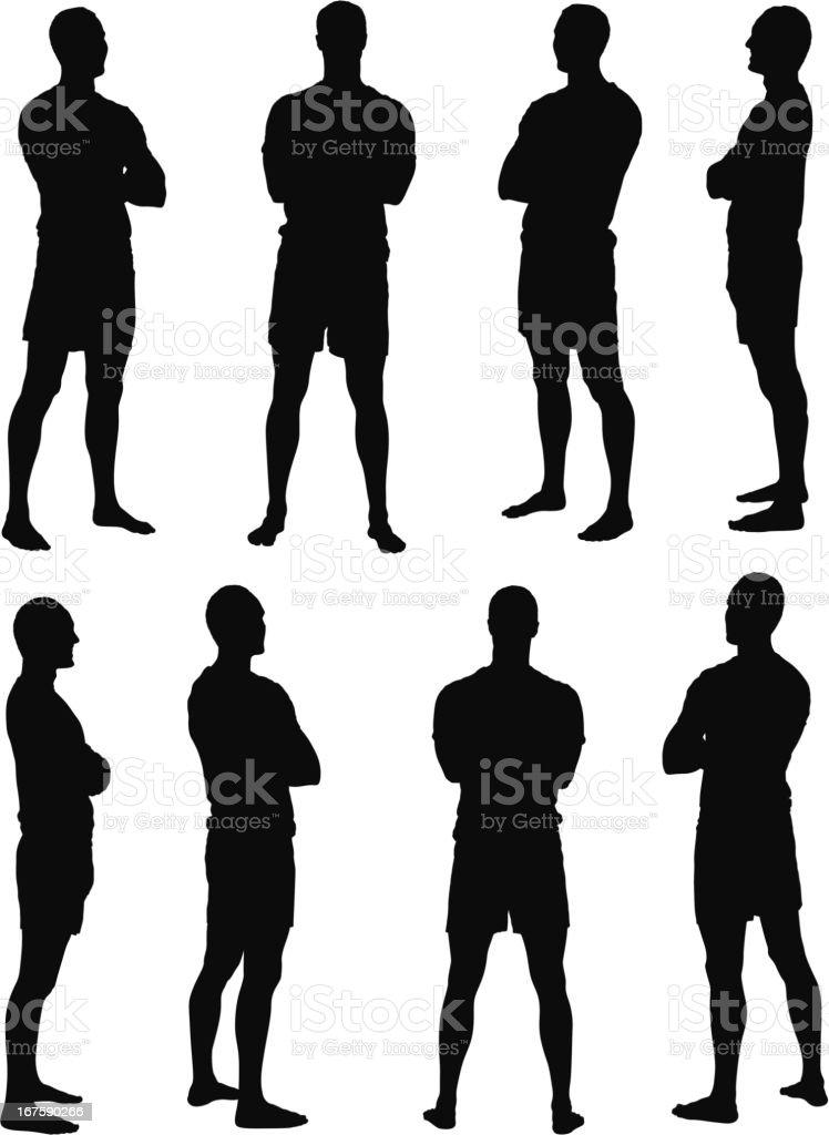 Varias imágenes de un hombre con brazos cruzados - ilustración de arte vectorial