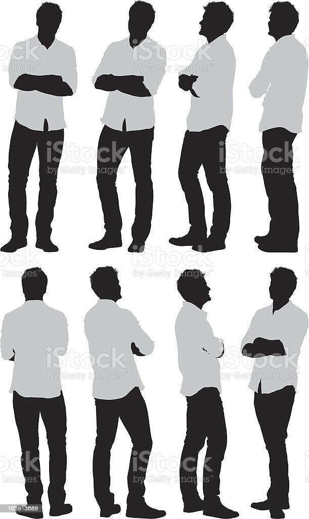 Multiple images of a man with his arms crossed vector art illustration