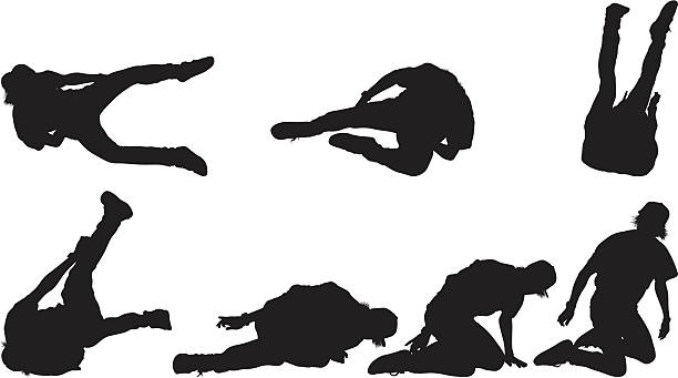 Multiple images of man falling on the ground Multiple images of man falling on the ground careless stock illustrations