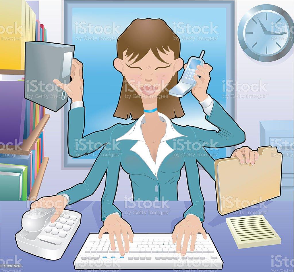 Multitasking Business woman royalty-free stock vector art