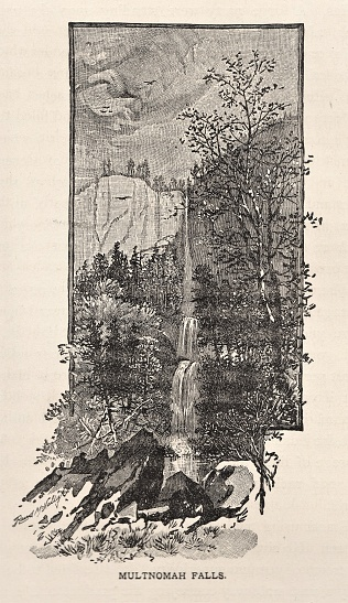 Oregon's highest waterfall is Multnomah Falls near Portland. USA. Illustration published 1886. Source: Original edition is from my own archives. Copyright has expired and is in Public Domain.