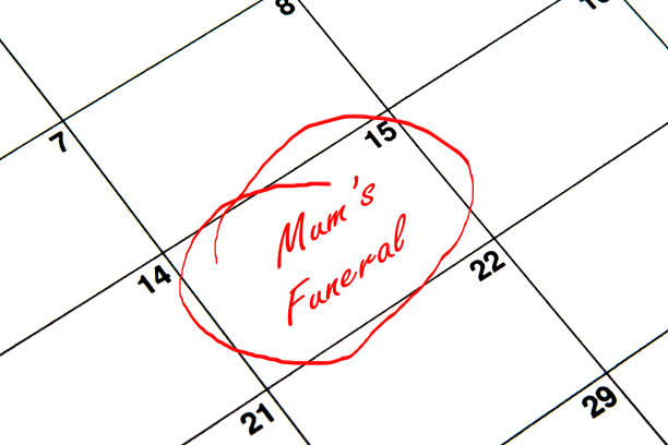 Mum's Funeral Circled on A Calendar in Red vector art illustration