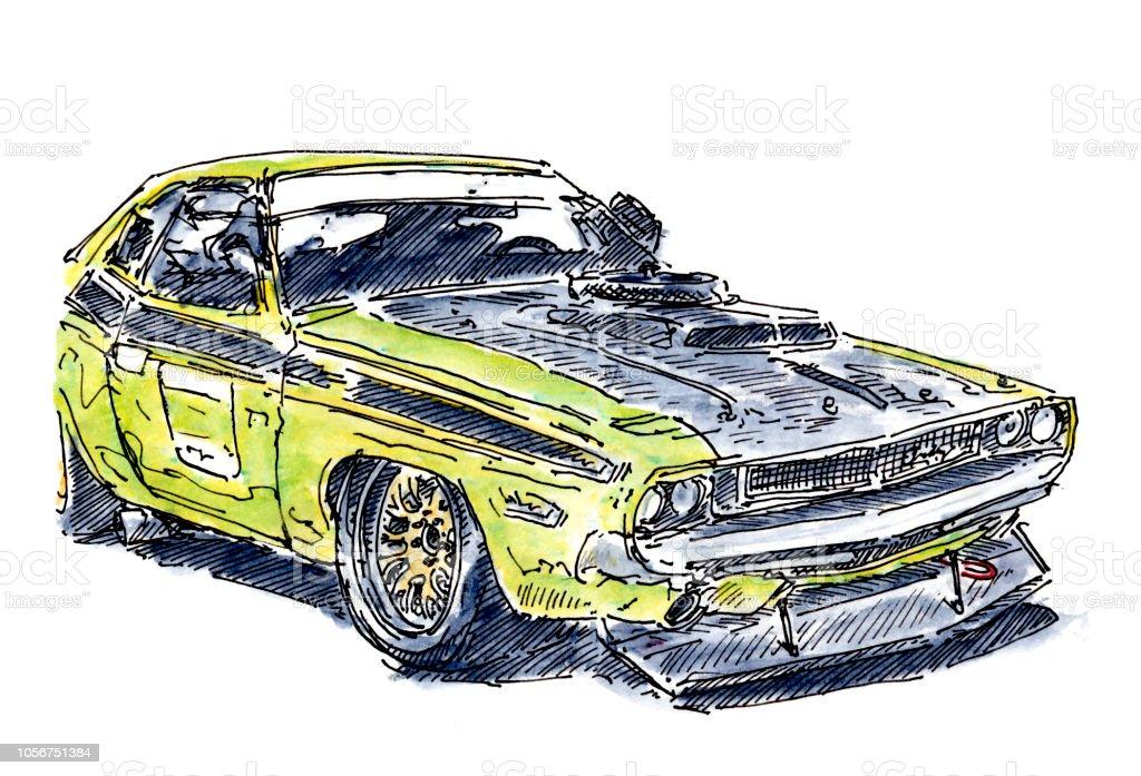 usmusclecar rennwagen tinte zeichnung und aquarell stock vektor art