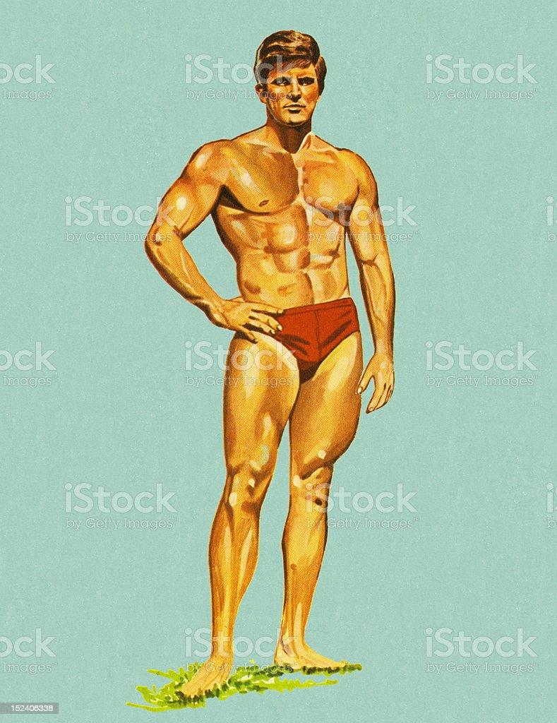 Muscolare Uomo In Costumi Da Bagno - Immagini vettoriali stock e ...