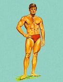 istock Muscle Man in Swim Trunks 152406338