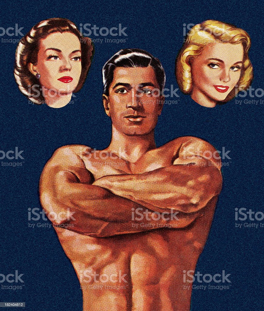 Muscle Man Thinking About Two Women royalty-free muscle man thinking about two women stock vector art & more images of adult