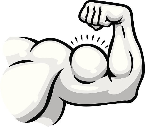 muscular arm - cartoon muscle arms stock illustrations, clip art, cartoons, & icons