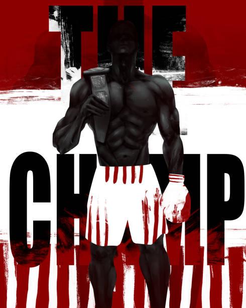 stockillustraties, clipart, cartoons en iconen met gespierde bokser permanent. - kickboksen