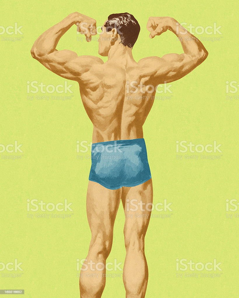 Muscular Man's Back vector art illustration