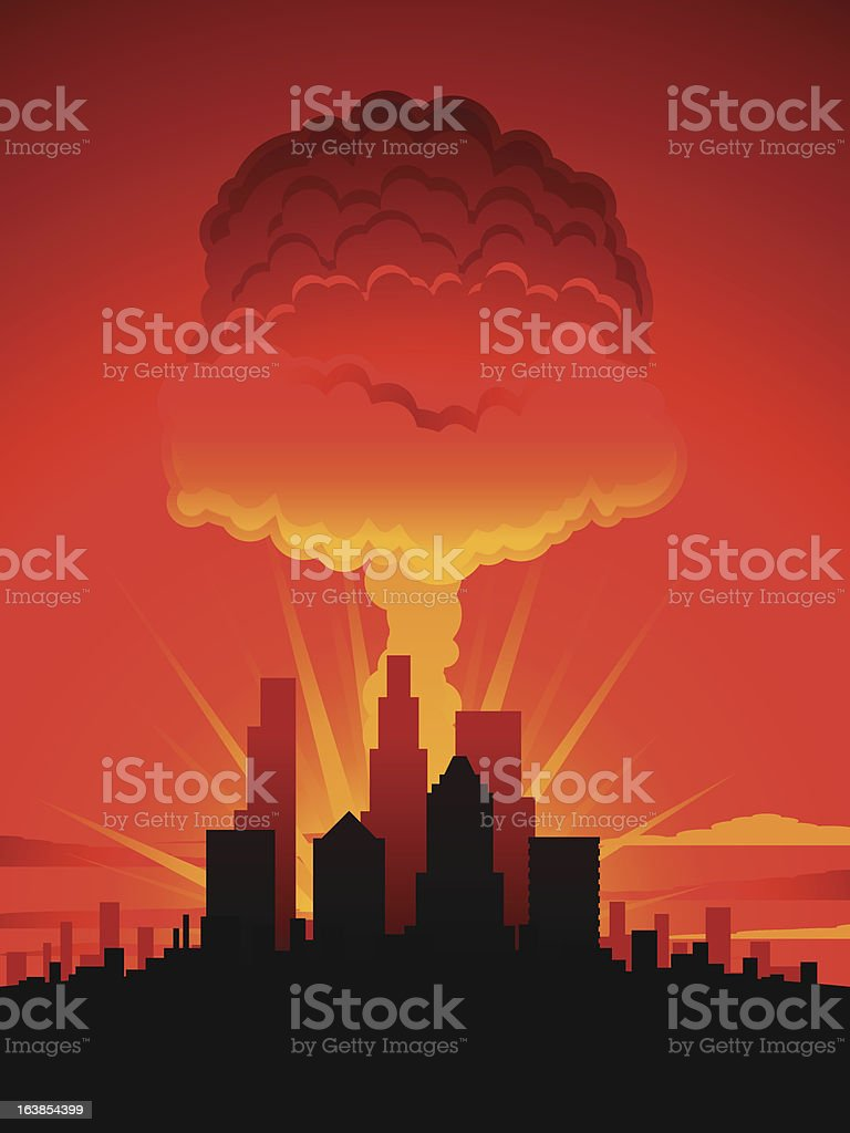Mushroom cloud and city royalty-free stock vector art