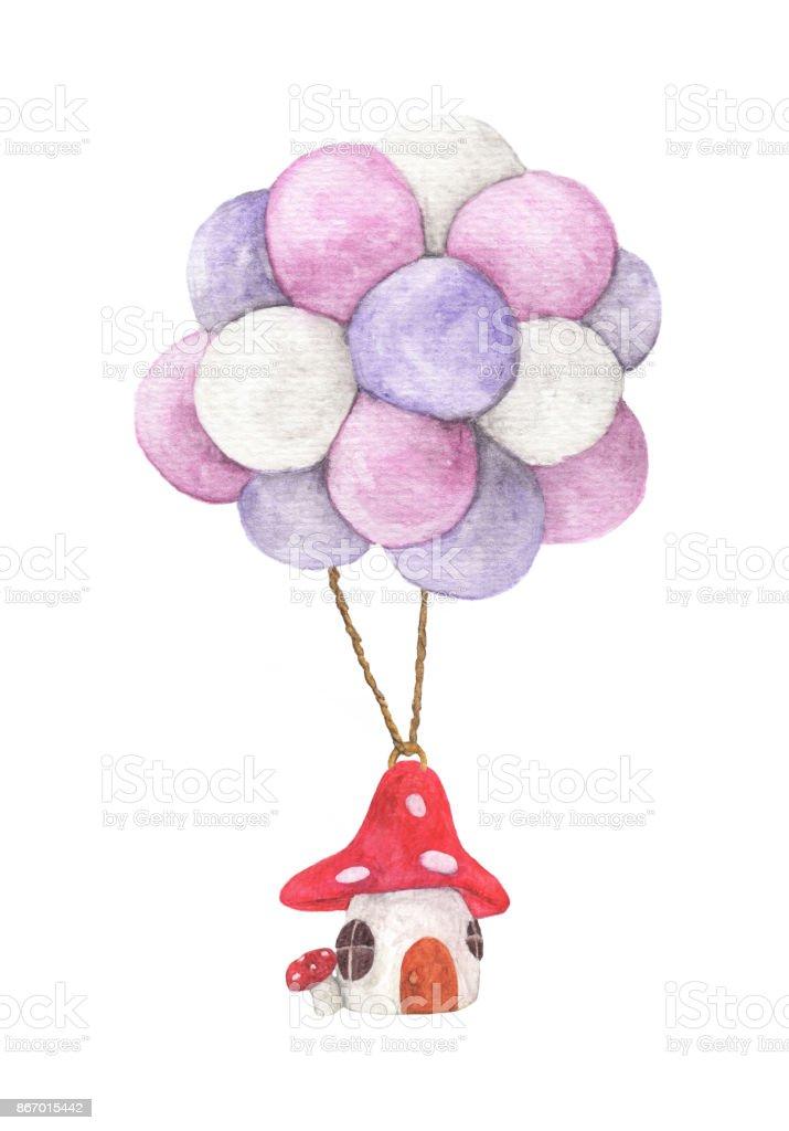 Mantar Ev Renkli Balon Sulu Boya Resimler Beyaz Arka Plan üzerinde