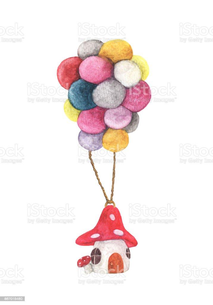 Mantar Ev Renkli Balon Sulu Boya Resimler Beyaz Arka Plan Uzerinde