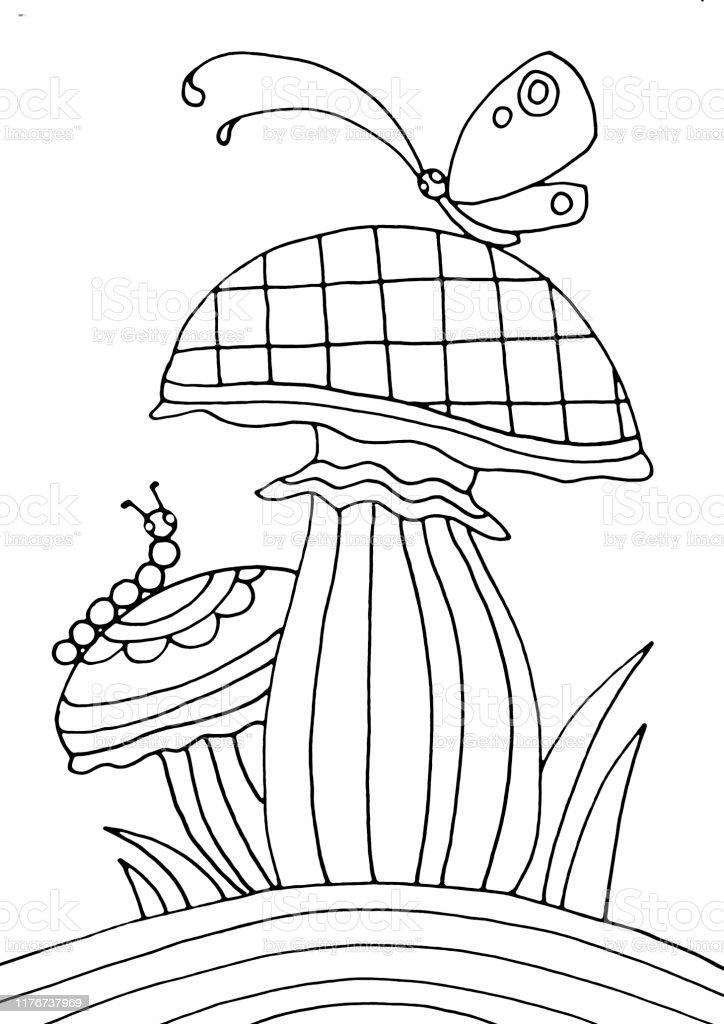 - Mushrooms With Butterfly And Caterpillar Coloring Page Stock Illustration -  Download Image Now - IStock