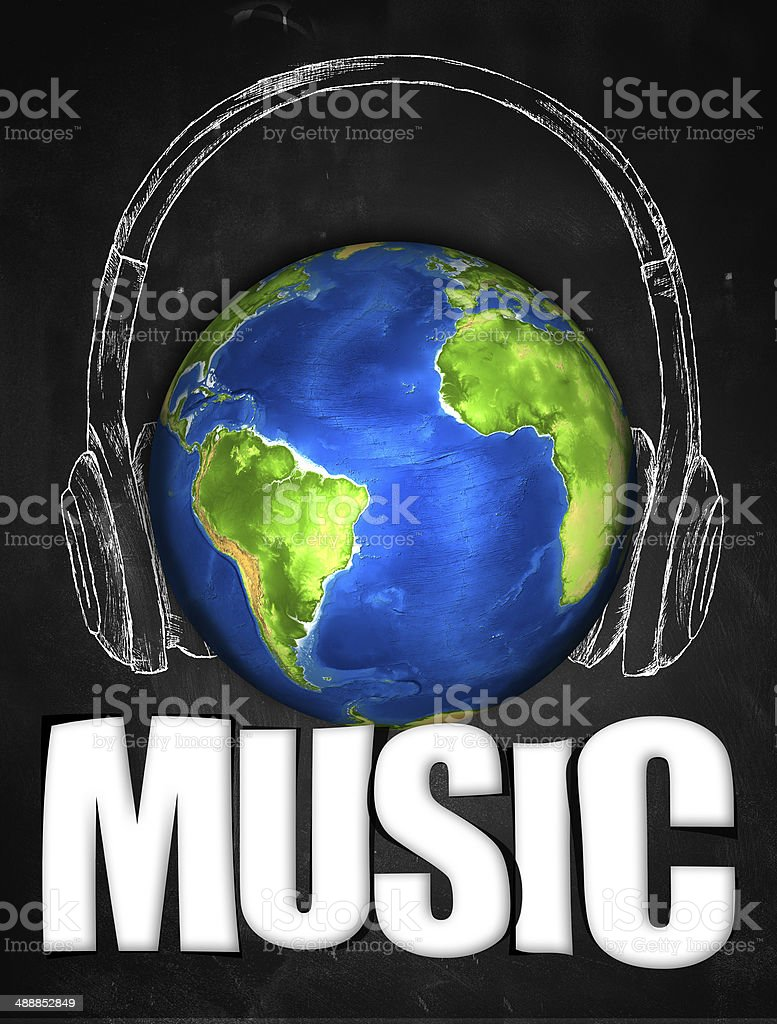 Music Earth Universal Sketch Headset vector art illustration