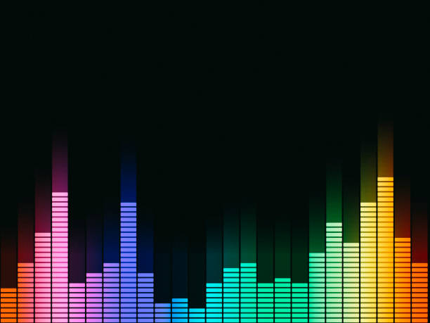 Music equalizer, audio waveform abstract technology background Music equalizer, audio waveform abstract technology background sound mixer stock illustrations