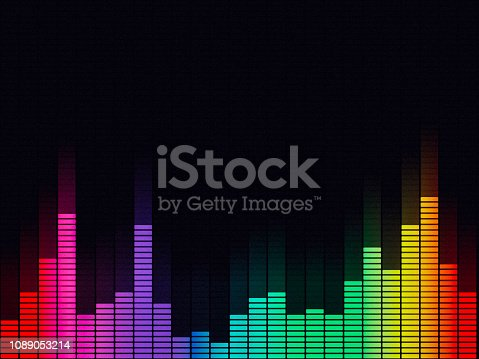 Music equalizer, audio waveform abstract technology background