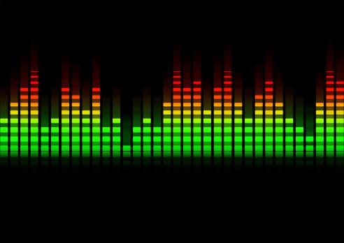 music equalizer blurred in black background