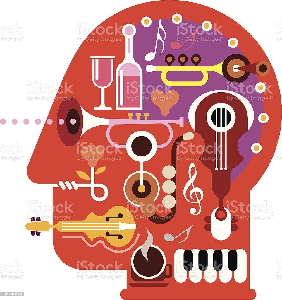 Music Head royalty-free stock vector art