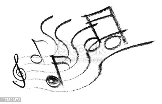 crayon-sketched illustration of some notes and musical symbols