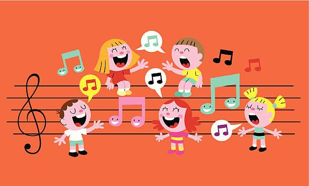 stockillustraties, clipart, cartoons en iconen met music kids - zingen