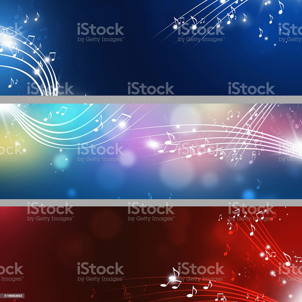 Music Notes Banners vector art illustration