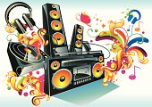 """music stuff & soundsplashes, vector artwork"""