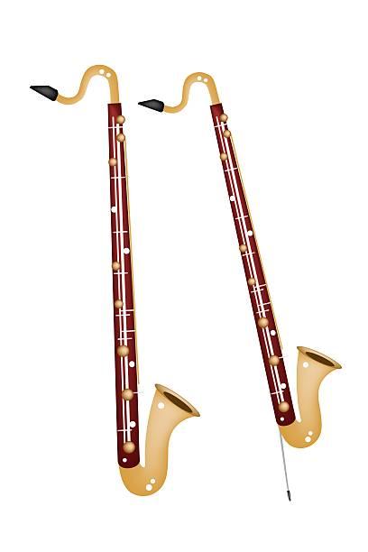 stockillustraties, clipart, cartoons en iconen met musical bass clarinet isolated on white background - basklarinet