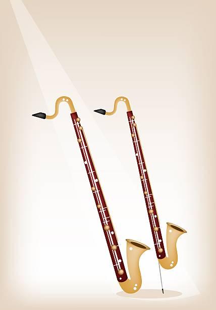 stockillustraties, clipart, cartoons en iconen met musical bass clarinet on brown stage background - basklarinet