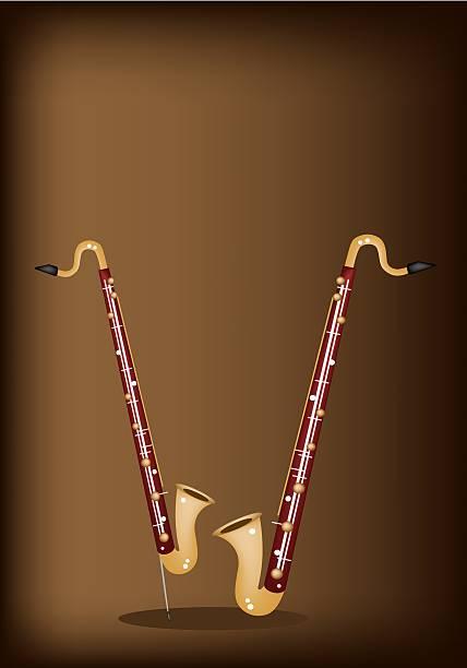 stockillustraties, clipart, cartoons en iconen met musical bass clarinet on dark brown background - basklarinet