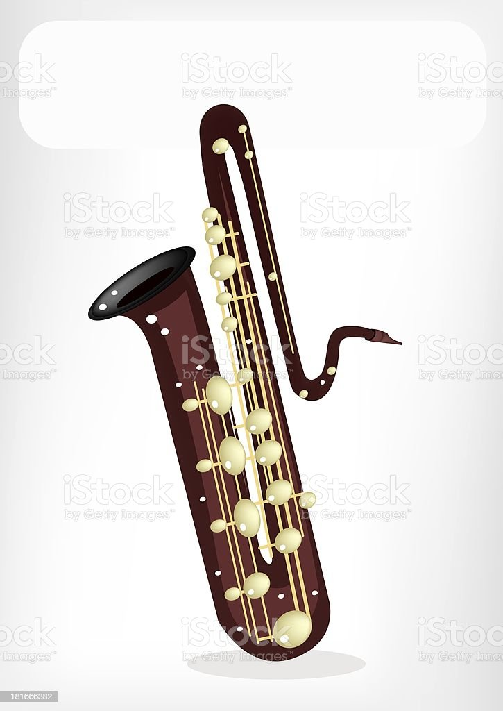 Musical Bass Saxophone with A White Banner royalty-free stock vector art