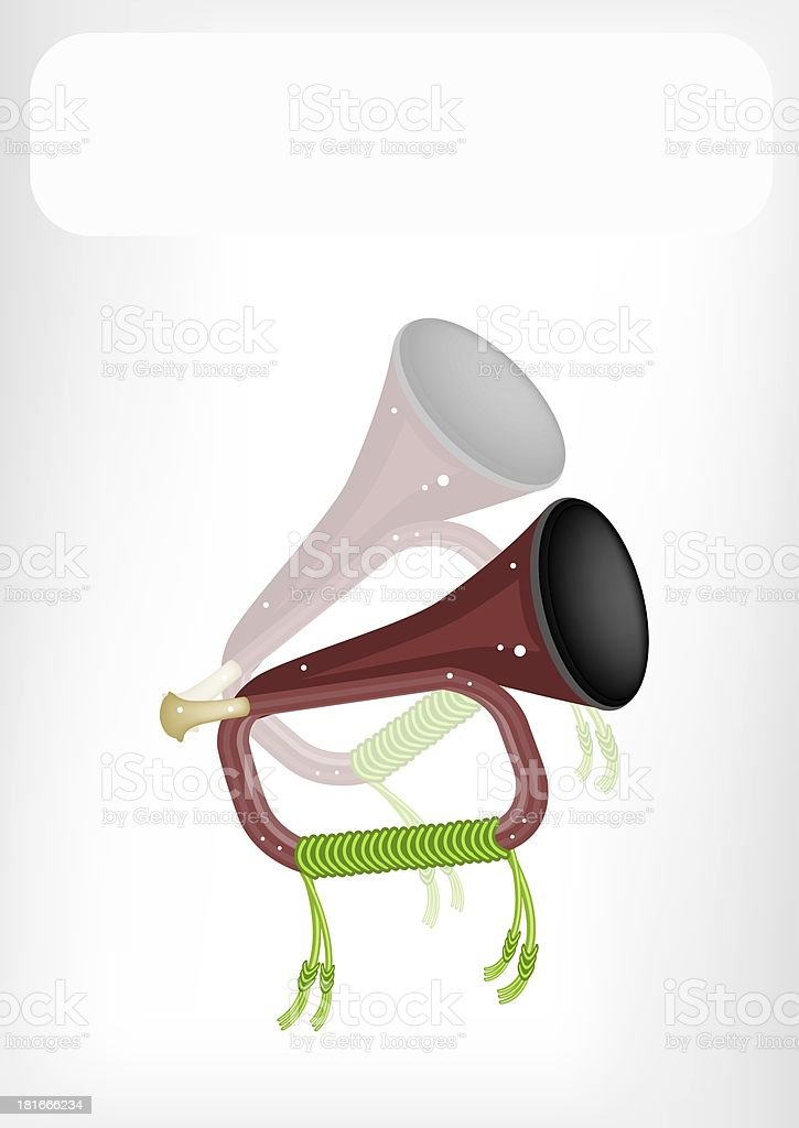 Musical Bugle with A White Banner royalty-free musical bugle with a white banner stock vector art & more images of arts culture and entertainment
